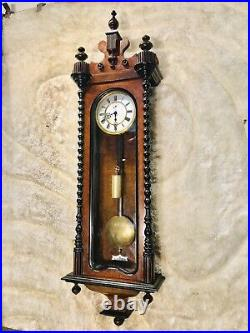 Vintage Antique Germany Gustav Becker Vienna Wall Clock, 1 Brass Weights Driven