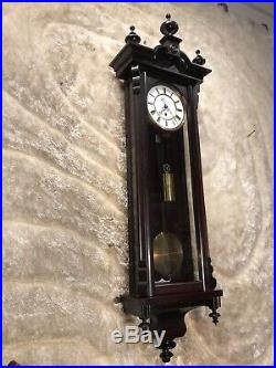 Vintage Antique Germany Lenzkirch Vienna Wall Clock, With 1 Brass Weight Driven