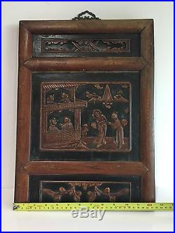 Vintage/ Antique Oriental Chinese Relief Wood Carving Plaques Wall Hanging
