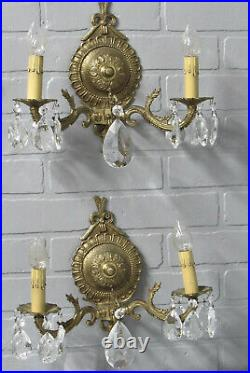Vintage Antique Spanish Brass Wall Sconces Crystal Prisms 10 1/2 Tall 13 Wide