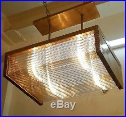 Vintage Art Deco Brass & Glass Rod Ship Wall Ceiling Fixture Hanging Light Lamp