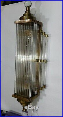 Vintage Art Deco Skyscraper Brass Glass Rod Ship Light Fixture Wall Sconces Lamp