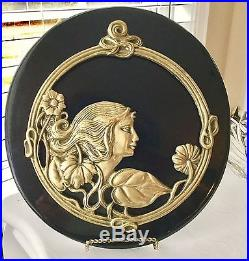 Vintage Art Nouveau Black Lacquered Hanging Wall Plaque With Solid Brass Woman