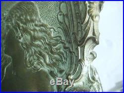 Vintage Art Nouveau Pewter Wall Plaque c1900 Wonderful Piece Great Condition