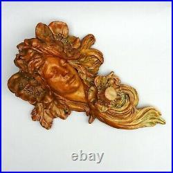 Vintage Art Nouveau Plaster Lady Head Wall Plaque 40cm Chalkware