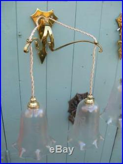Vintage Art Nouveau Wall Lights. Brass Whiplash Bracket & Lustre Shades (154)