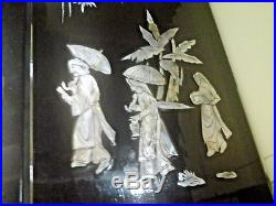 Vintage Asian Mother of Pearl Inlay Black Lacquer Wall Art on Wood Plaque 2Piece