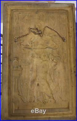 Vintage B&H Bradley and Hubbard Lady With Tray cast Iron Painted Wall Plaque