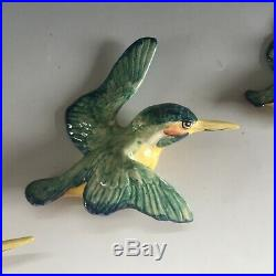 Vintage BESWICK pottery set of 3 Kingfisher graduating wall plaques 729 1/2/3