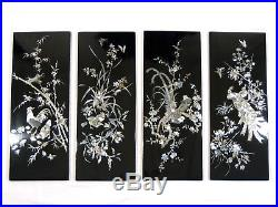 Vintage BIRDS ASIAN INLAY WALL PANELS Mother of Pearl Black Lacquer Plaque WWII