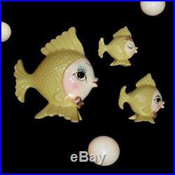 Vintage BRADLEY YELLOW FISH FAMILY Wall Plaque or Figurines for Mermaid Bath
