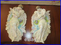 Vintage Bisque Porcelain Pair Of Wall Plaques Lovers