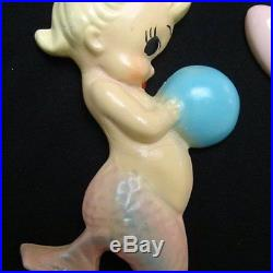 Vintage Blue & Pink Mermaid Mom & Baby Wall Plaque Hanging Set w Heart Bubbles