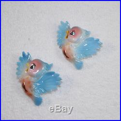 Vintage Bluebird Wall Plaques PY Japan Napco 1950s 2 Babies