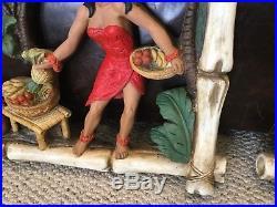 Vintage Boy Girl Universal Statuary Hawaiian Hula Chalkware Wall Plaque 18x12
