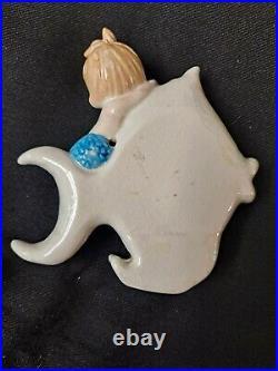 Vintage Bradley Ceramic Mermaid on Fish Wall Plaque Figurine