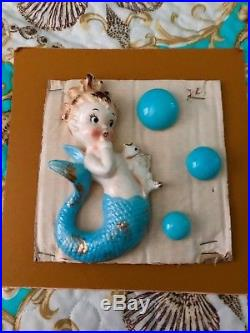 Vintage Bradley Mermaid Wall Plaque, on Original Card, Beautiul