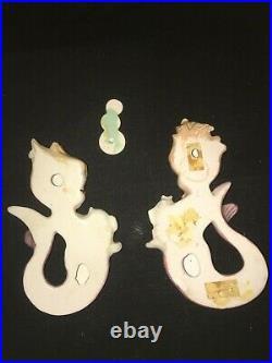 Vintage Bradley Mermaids W Bubbles Fish Wall Plaque Pocket Ceramic Girls Retro