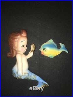 Vintage Bradley Mermaids W School Of Fish Wall Plaque Pockets Ceramic Set Girls