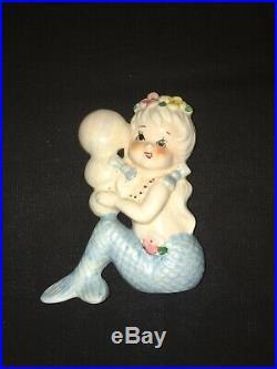 Vintage Bradley Norcrest Mermaid W Fish Wall Pocket Plaque Ceramic Set Girl Lady