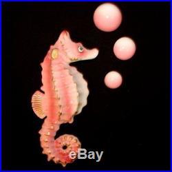 Vintage Bradley Pink Seahorse Wall Plaque Hanging for Mermaid & Fish Bath Decor