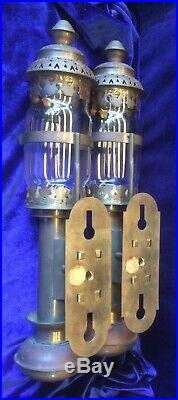 Vintage Brass Candle Sconce Pair Wall Mount Lamp Light Lantern RailRoad Train