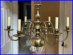 Vintage Brass Chandelier Colonial Williamsburg Style With Two Pair Wall Sconces