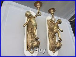 Vintage Brass Cherub Sconce Wall Light French Cherub Wooden Plaque Pair Candle
