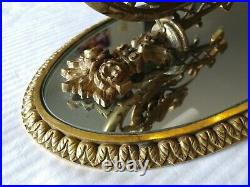 Vintage Brass Empire Style Mirrored Wall Sconce Winged Griffin / Dragon 11 1/4