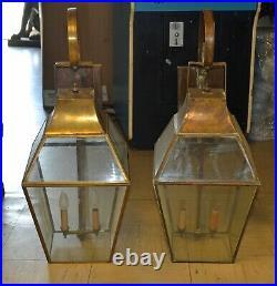 Vintage Brass Exterior Wall Mount Light Fixtures Lanterns 31 Tall