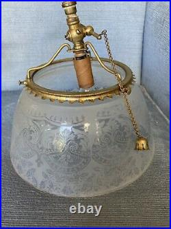 Vintage Brass Gas Light Wall Sconce Electrified (17)