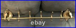 Vintage Brass Horse Head 5 Hook Wall Mounted Coat Rack 38