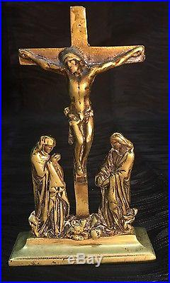Vintage Brass Moulded Christian Cross Crucifix-jesus Christ-wall Plaque England