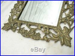 Vintage Brass Ornate Art Nouveau Victorian Beveled Wall Mirror Vanity Face