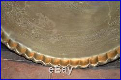 Vintage Brass Serving Tray, Wall Plaque, Table Top 24 1/2