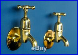 Vintage Brass Sink Taps Wall Mounted Fully Refurbished Antique Hardware Fixture