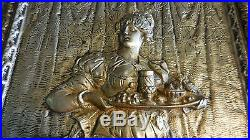 Vintage Brass Wall Decor Plaque Of Woman 18.5 X 11.25 Inches- 8 Lbs