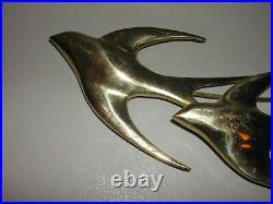 Vintage Brass Wall Hanging Art Sculpture Signed Swallows MCM Birds in Flight