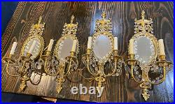 Vintage Brass wall Sconces crystal Set of 4 wired Mirrored Cast 24 Tall X 9