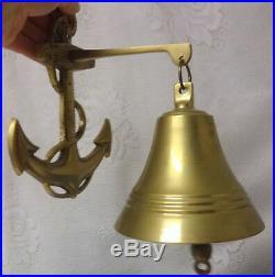 Vintage Bronze Brass Bell Liberty Navy School Ship Boat w Anchor Wall Decor