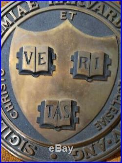 Vintage Bronze Harvard University School Seal Wall Plaque 9 Early Antique