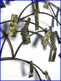 Vintage Brutalist Abstract Brass Tree Wall Sculpture Degroot Mid Century Modern