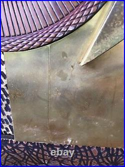 Vintage Brutalist Metal Wall Sculpture Copper Brass 36 x20