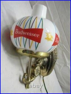 Vintage Budweiser Bud Beer Brass Wall Globe Sconce Bar Lamp Sign Light Retro B