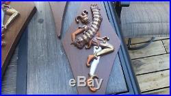 Vintage Burwood MID Century Harlequin 3d Minstrel Jester Wall Plaques