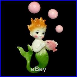 Vintage COLORFUL NORCREST MERMAID wall plaque hanging with 3 pink bubbles