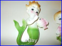 Vintage COLORFUL NORCREST MERMAIDS wall plaque hanging TRULY ADORABLE NEAR MINT