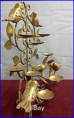 Vintage Candle Wall Sconce Gold 10 Pillar Tree Birds Leaves Metal Rare