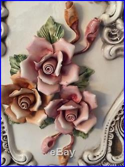 Vintage Capodimonte Large Wall Plaque In Excellent Condition