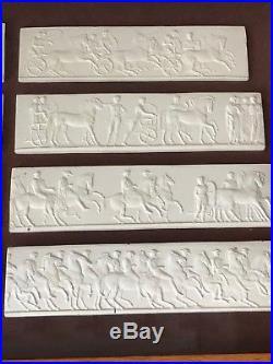 Vintage Carved Plaster Relief Sculptures Ancient Civilization Greek Wall Plaques